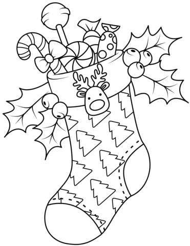Christmas Stocking coloring page.