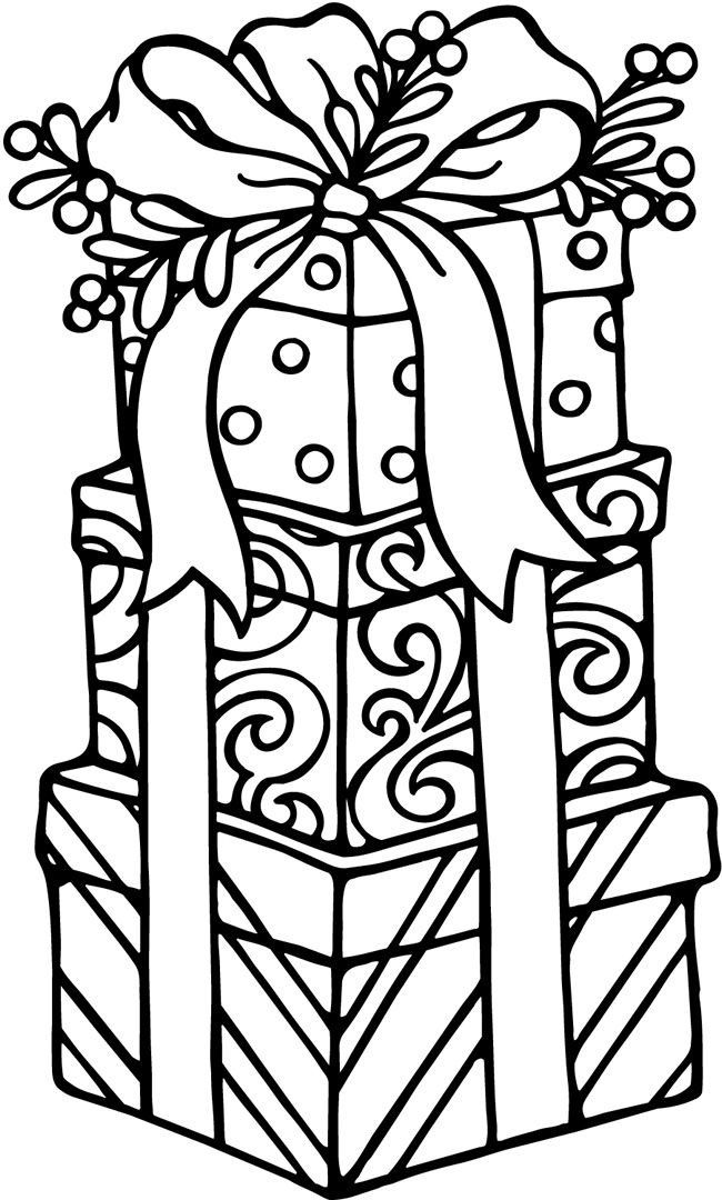 Christmas Gifts Coloring page for kids.