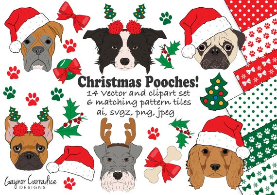 Christmas dogs clipart, Christmas dogs clip art, Christmas dog vectors,  Christmas clipart, dog clipart, Christmas digital clipart.