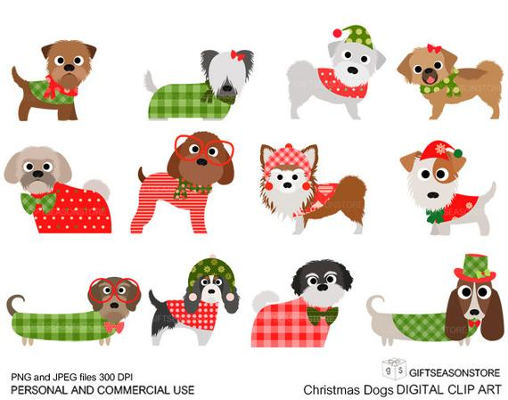 Christmas dog digital clip art part 3 for Personal and Commercial use.