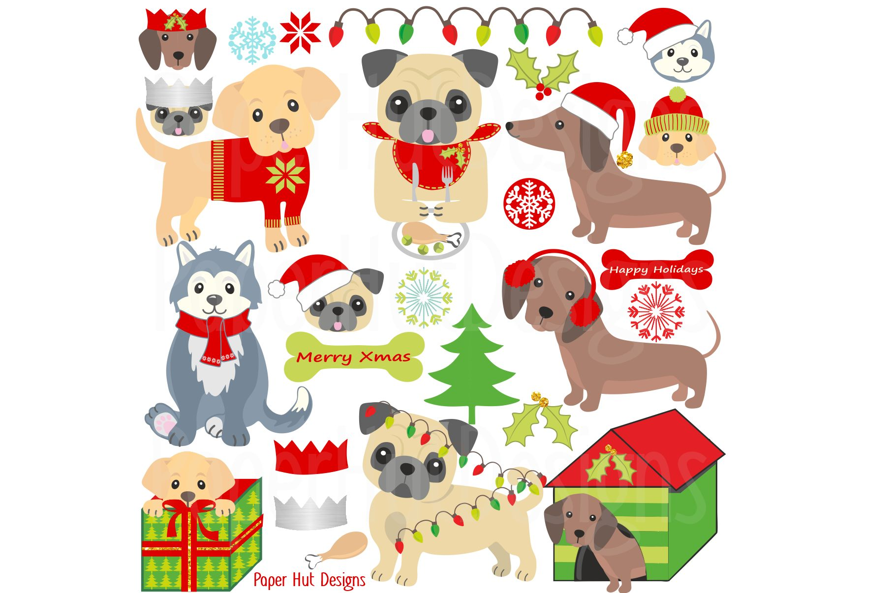 Christmas Dog Clipart.