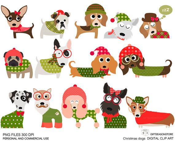 Christmas dog digital clip art part 1 for Personal and Commercial.