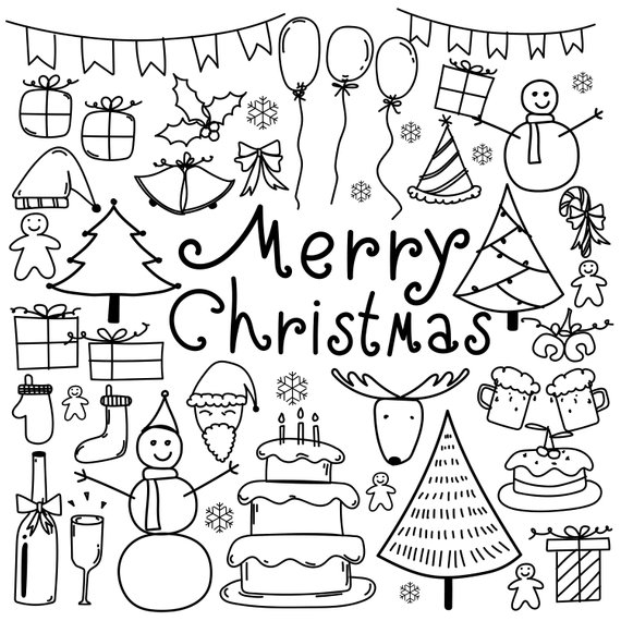 Hand Drawn Christmas Doodle Clipart, Merry Christmas Clipart.