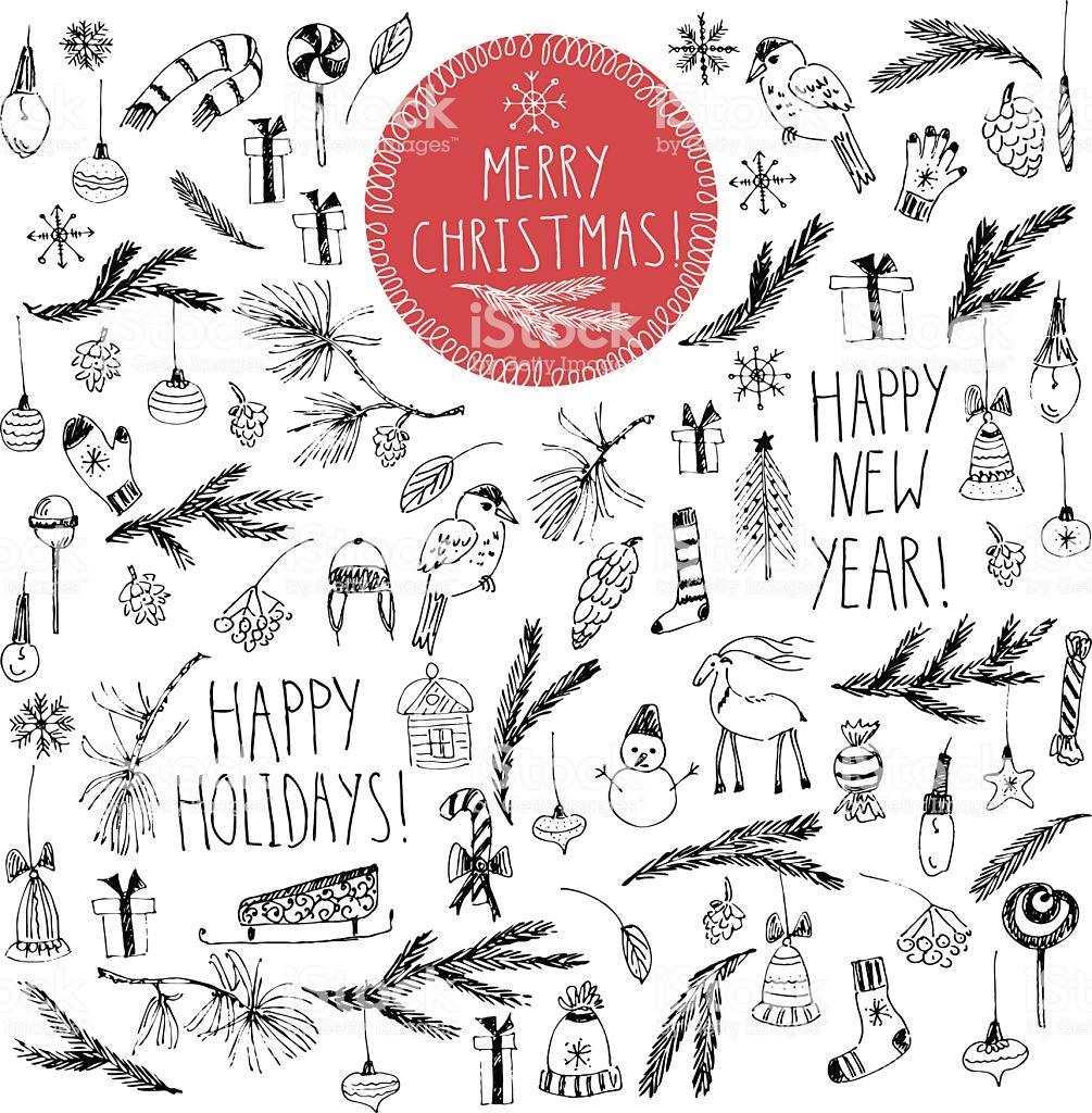 Hand Drawn Doodle Vector Christmas Clipart Drawings Stock Vector Art.