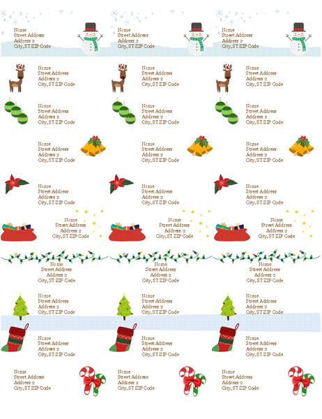 Gift tag labels (Christmas Spirit design, 30 per page, works with.