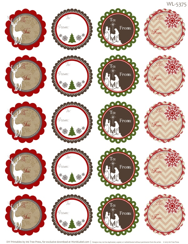 Treetop Glisten Free Christmas Labels & Digital Scrapbooking.