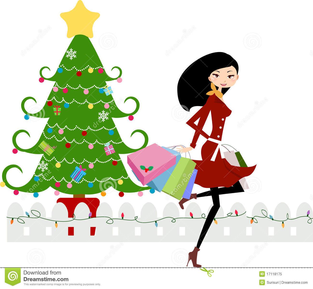 Christmas clip art shopping.