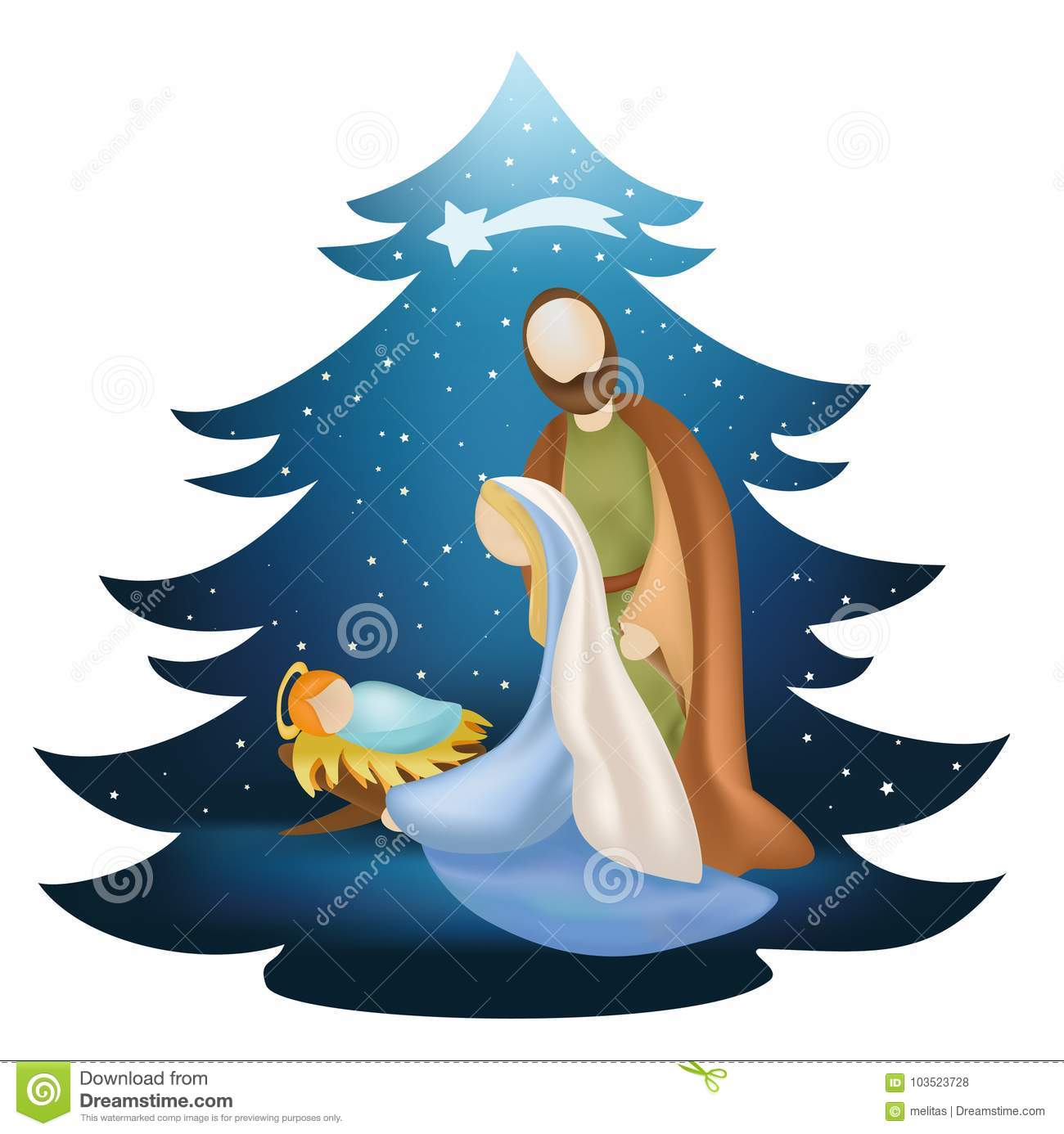 Christmas Tree Nativity Scene With Holy Family On Blue Background.