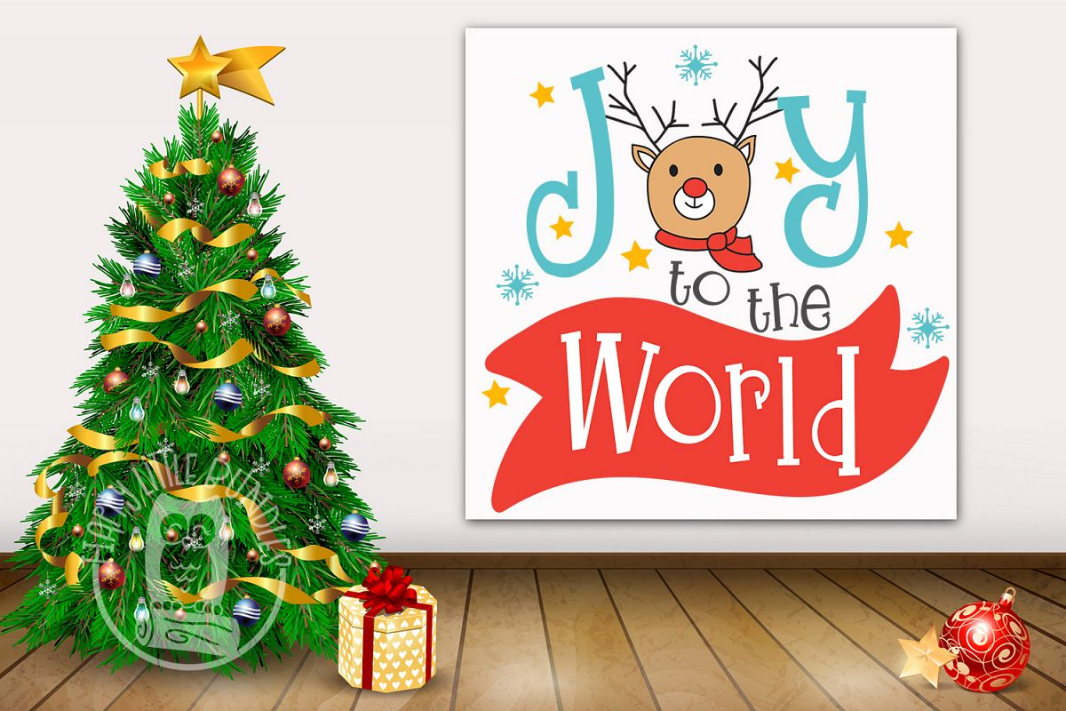 Joy to the world Christmas svg clipart dxf png pdf.