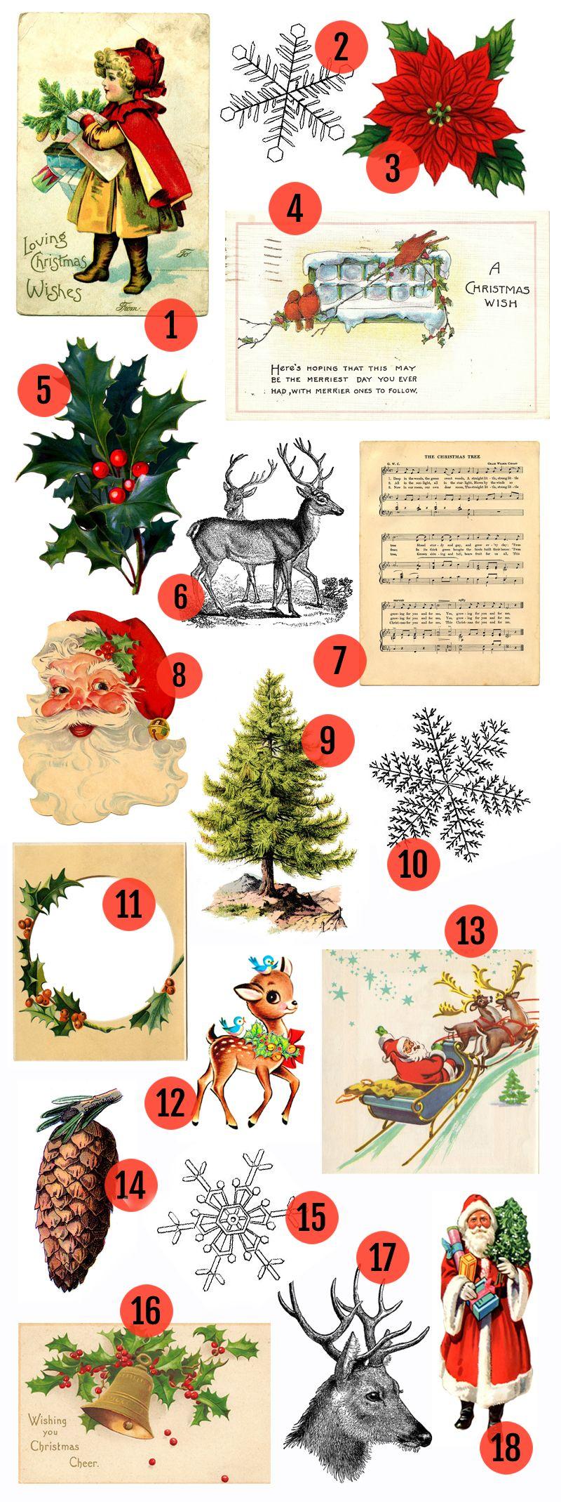 Free Christmas Printable & Vintage Christmas Clip Art.