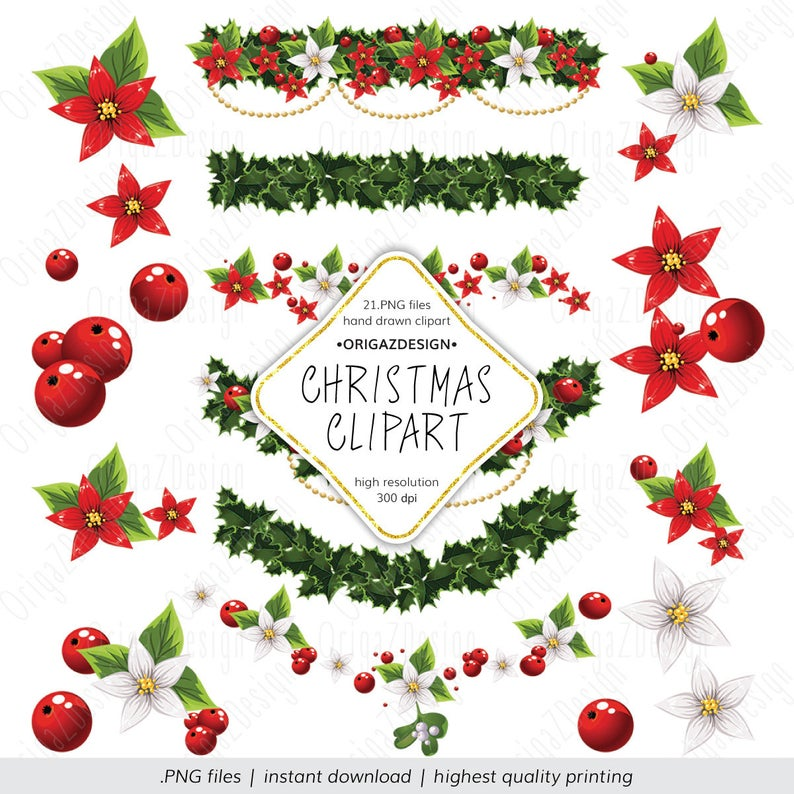 Christmas clipart, Christmas flowers Printable clipart for scrapbooking,  Christmas floral design digital elements PNG, Instant Download.