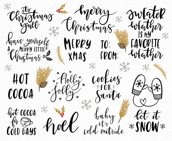 Christmas clipart / Christmas quotes / Christmas clip art / Christmas  overlays / winter / hand drawn / PNG / vectors.