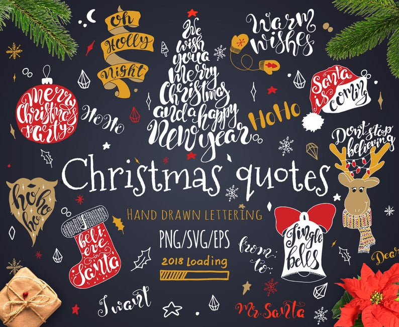 Christmas clipart Hand lettering clipart Christmas quote Modern Calligraphy  Print Christmas printable New Year Photo overlay Digital DIY.