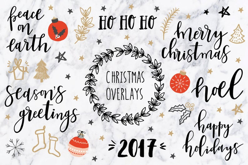 Christmas clipart / Christmas quotes / Christmas clip art / Christmas  overlays / hand drawn / PNG / vectors.