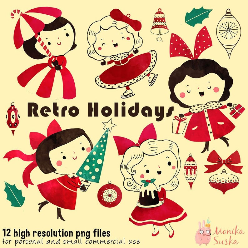 Christmas Clipart, Retro Christmas Clipart for commercial use, Holidays  clipart, Christmas scrapbook, clip art, Vintage Ornament Clipart,.