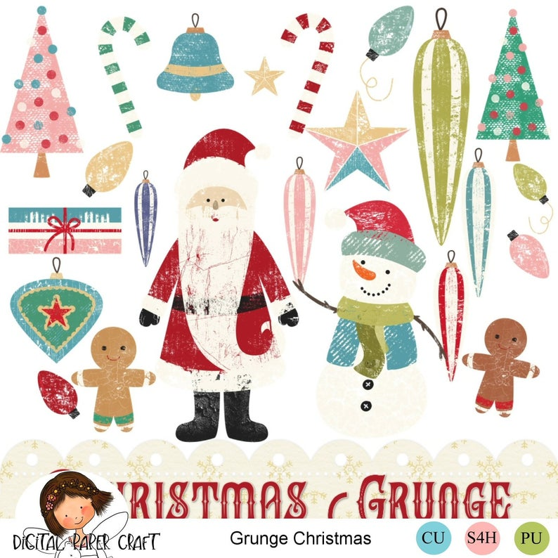 Christmas Clipart, Retro Christmas, Christmas, Clip Art, Instant Download,  50s clipart, Grunge Christmas.