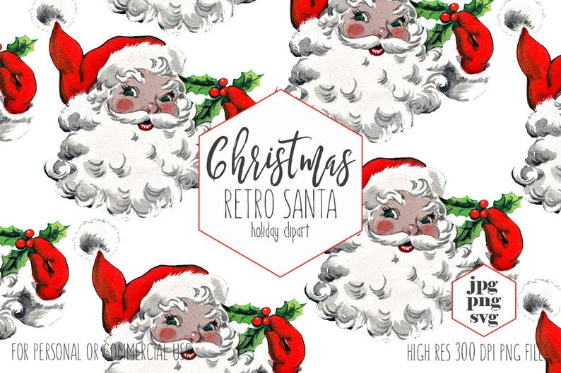 RETRO SANTA CLAUS Clipart for Commercial Use Christmas Clip Art Vintage  Santa Svg Hat & Holly Berries Holiday Invitation Digital Graphics.