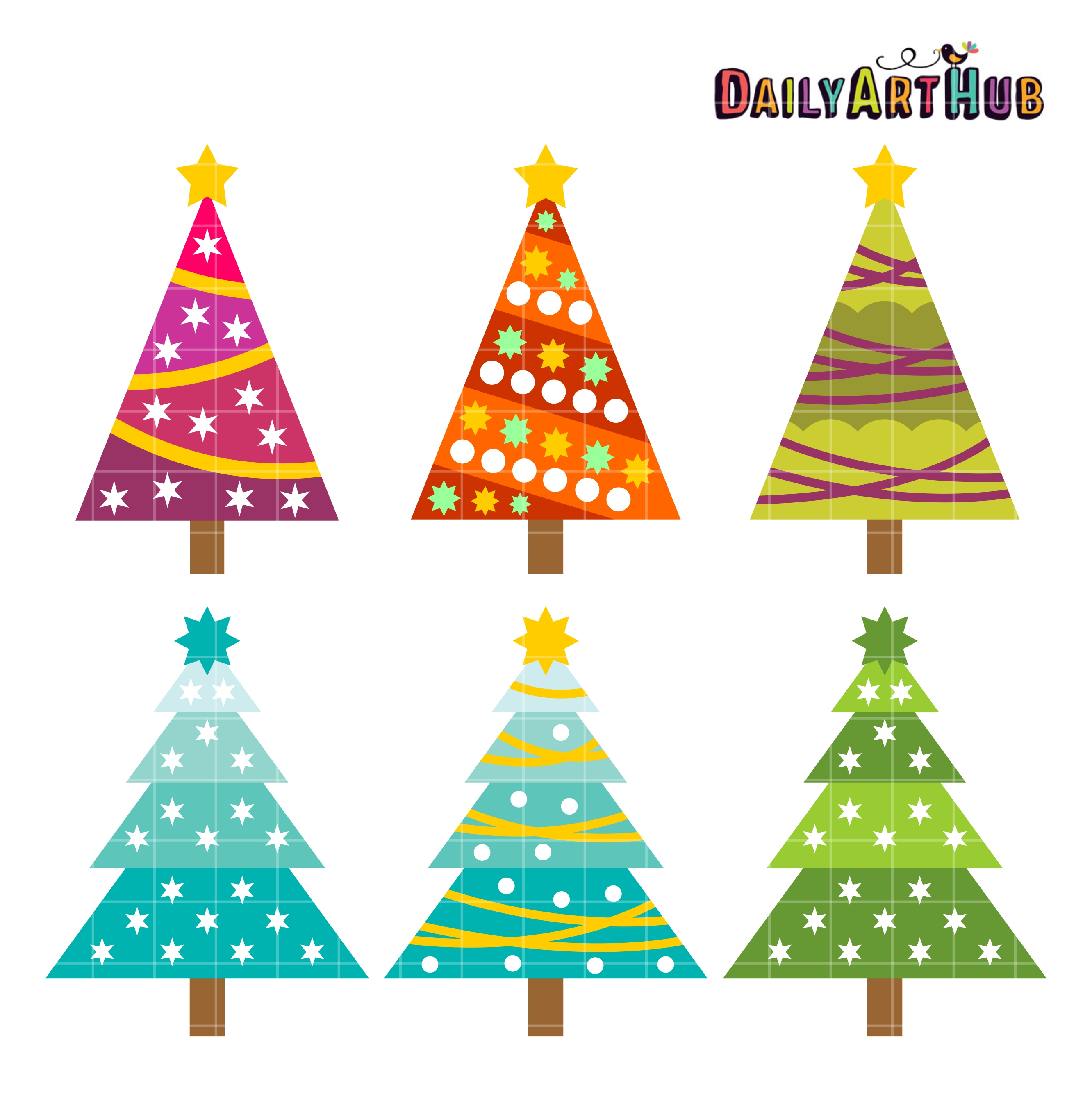 Retro Christmas Trees Clip Art Set.