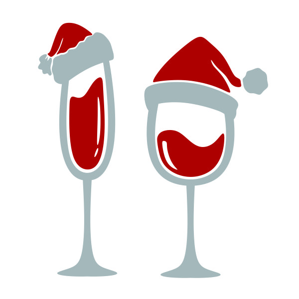 Christmas Wine Glass Santa Hat SVG Cuttable Designs.