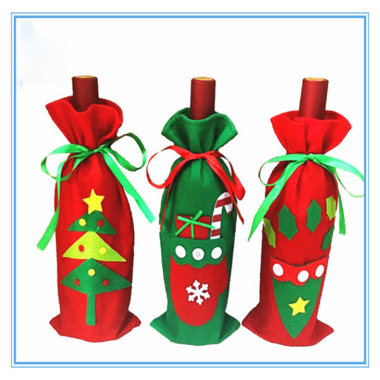 China Christmas Tree Red Wine Bottle Cover Bags and Gift Bags.