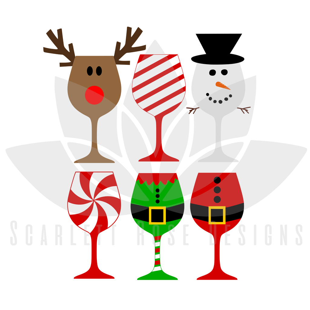 Christmas SVG, Christmas Wine Glasses cut file.