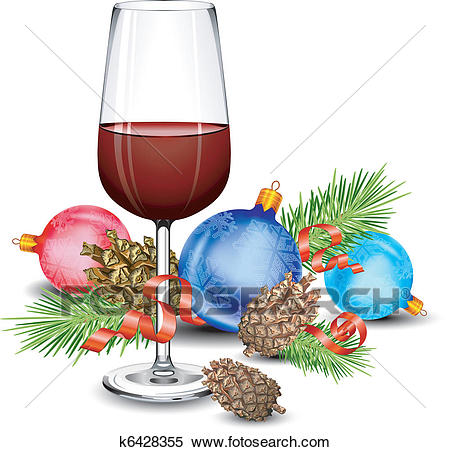 Christmas wine glass Clipart.