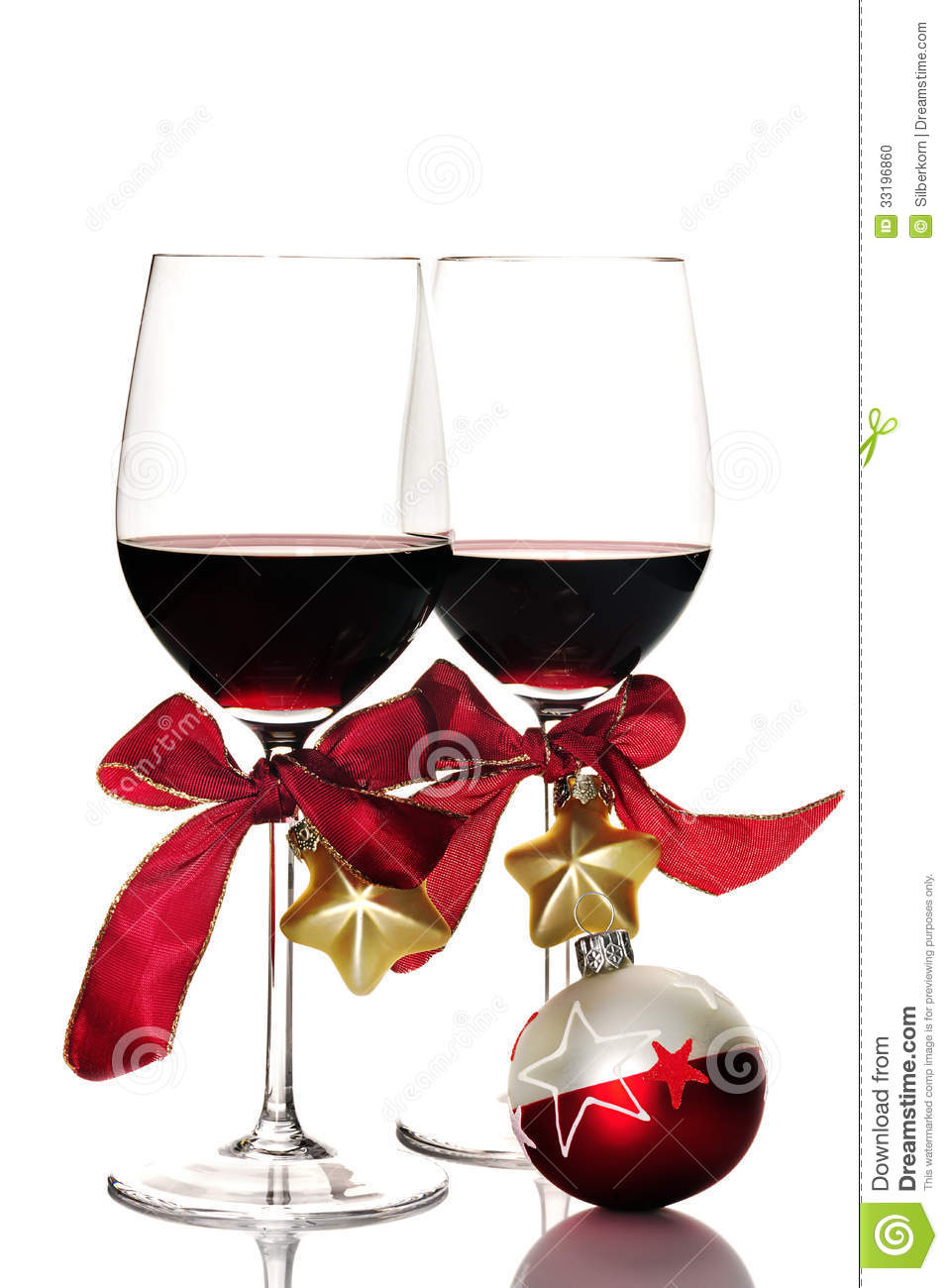 Red Wine And Christmas Ornaments Stock Photo.