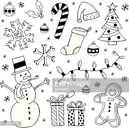 Black And White Christmas Clip Art Images Vector Art.