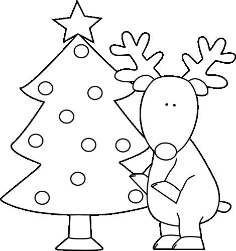 Black and White Reindeer Near Christmas Tree Clip Art.