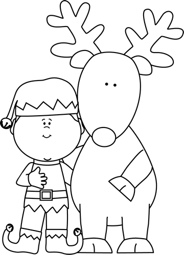 Black and White Elf and Reindeer Clip Art.