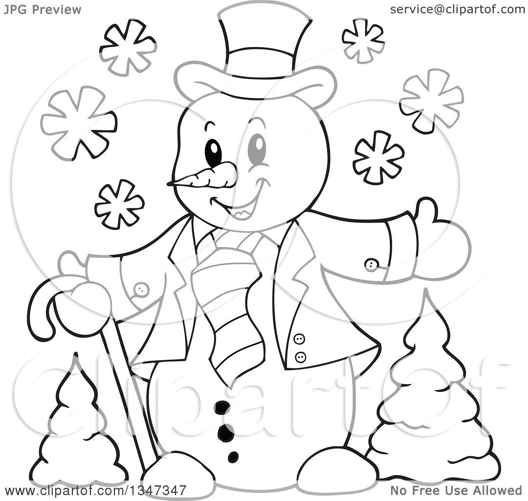 Outline Clipart of a Cartoon Black and White Christmas Snowman.