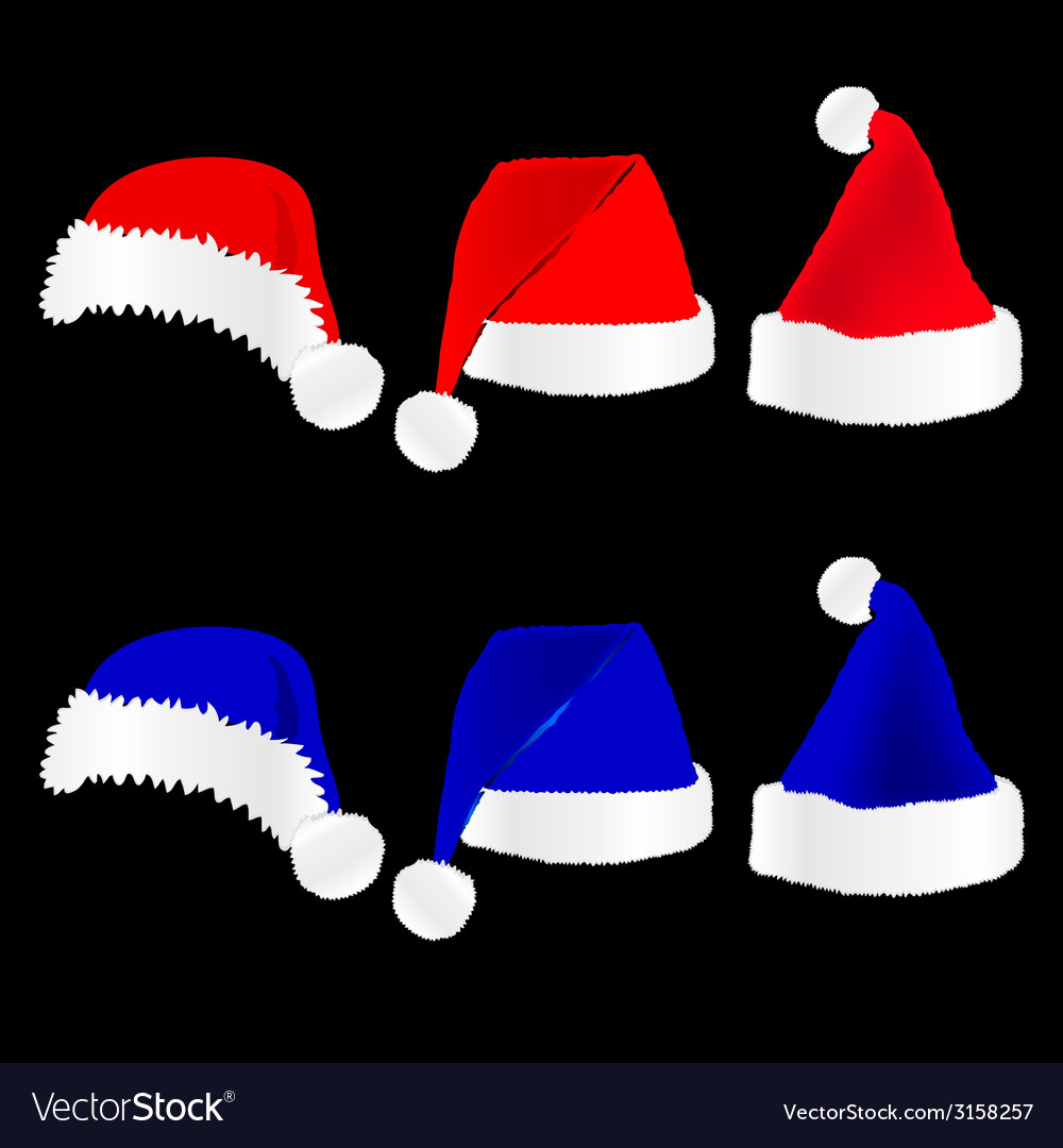 Christmas hat red and blue on black background.