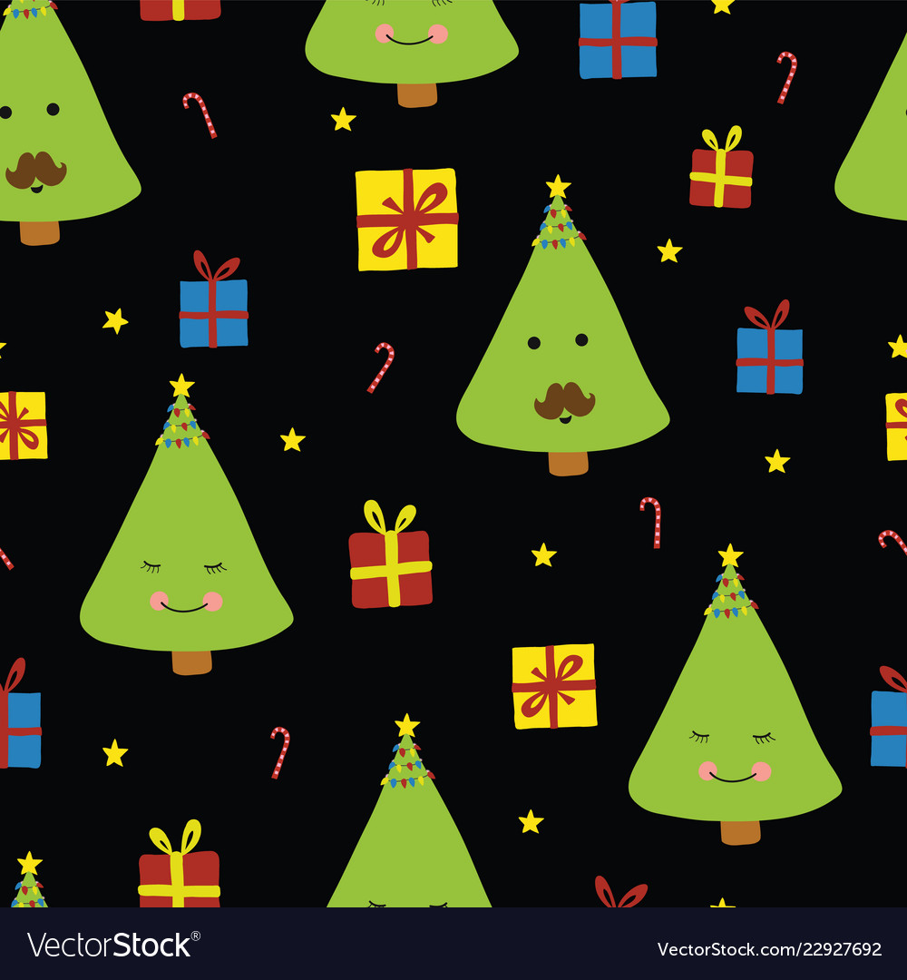 Fun christmas trees with faces on black background.