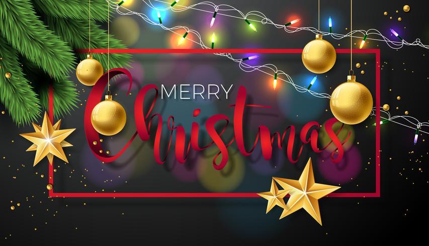 Merry Christmas Illustration on Black Background.