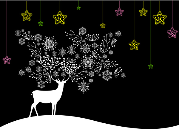 Black white christmas background with deer and coloured.
