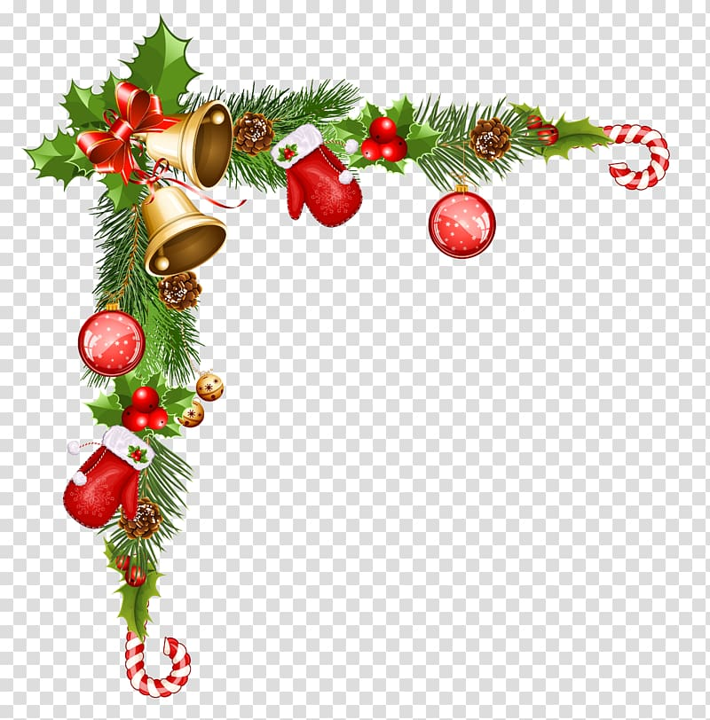 Christmas cane and ings border, Christmas ornament Santa.