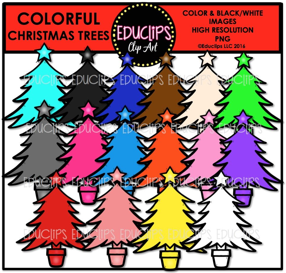 Colorful Christmas Trees Clip Art Bundle (Color and B&W).