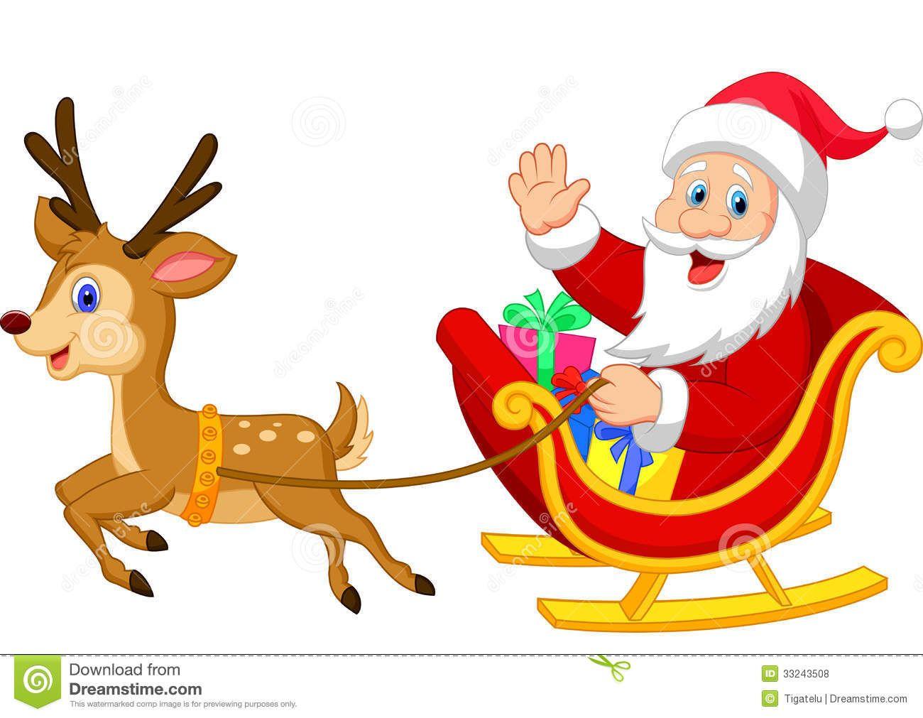 Cartoon Santa Drives His Sleigh Stock Vector.