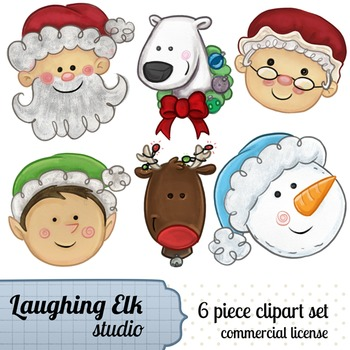 Hand Painted Christmas Clipart; Mixed cast of christmas characters.