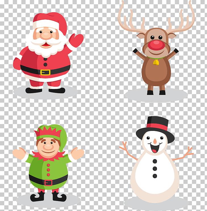 Santa Claus Reindeer Christmas Snowman, Christmas characters.