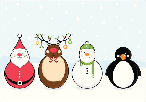Cute Christmas Characters Clipart.