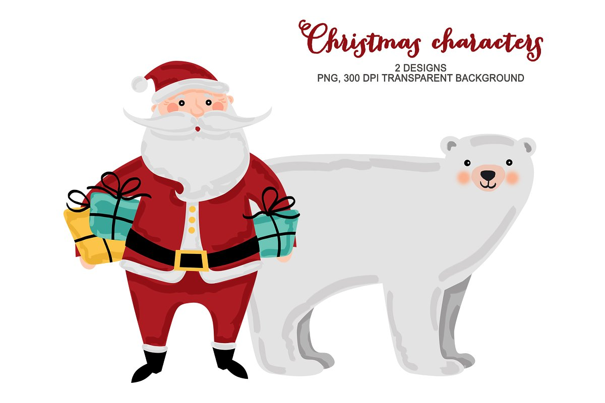 Christmas Characters Clip Art.