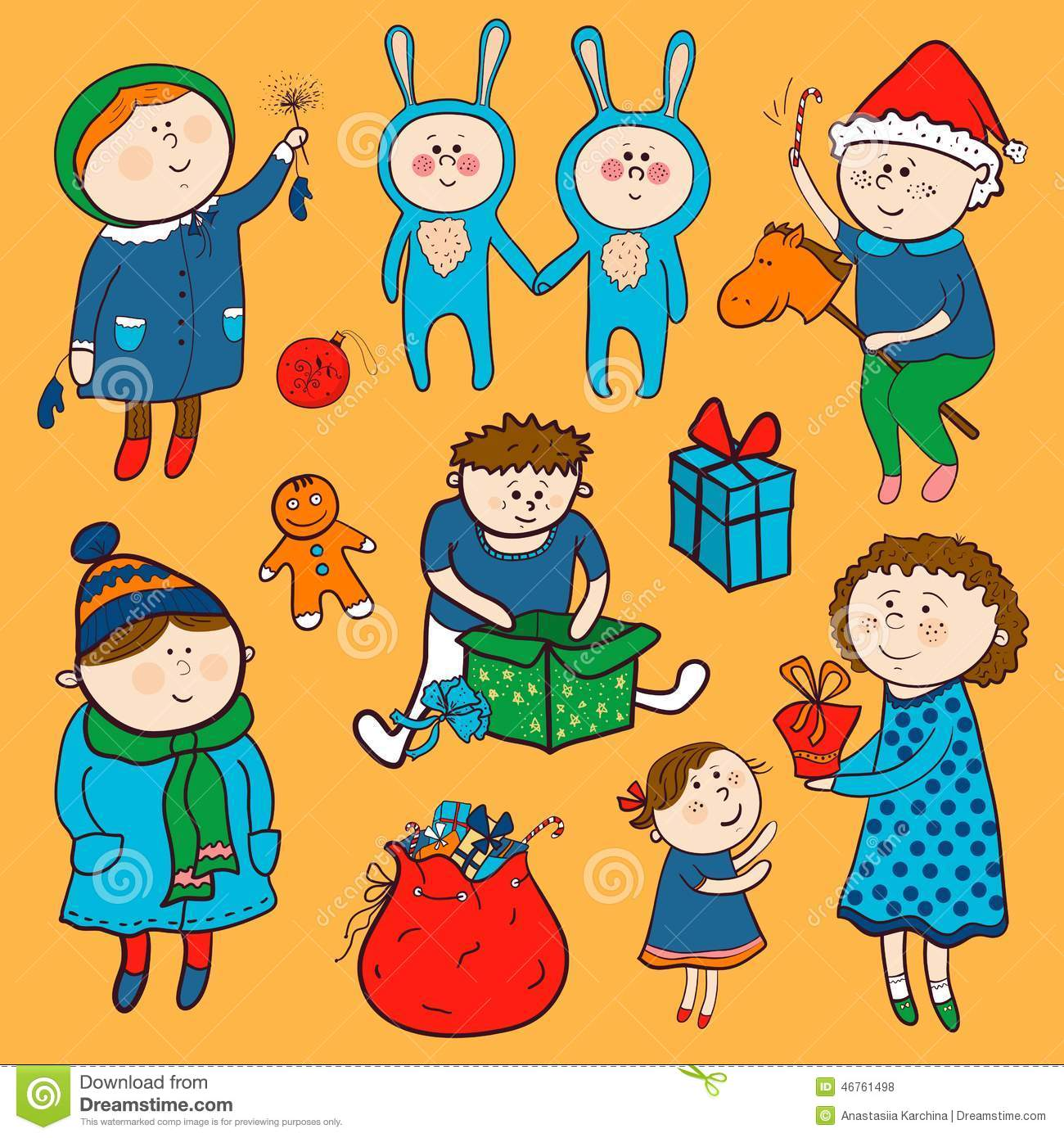 Childish Christmas Vector Set In Cartoon Style Stock Vector.