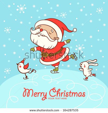 Santa Skate. Childish Merry Christmas Card In Vector..
