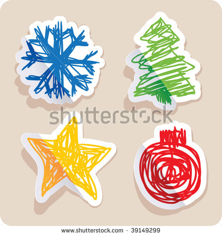 Set Of Four Main Christmas Symbols Drawn In Childish Style. Stock.