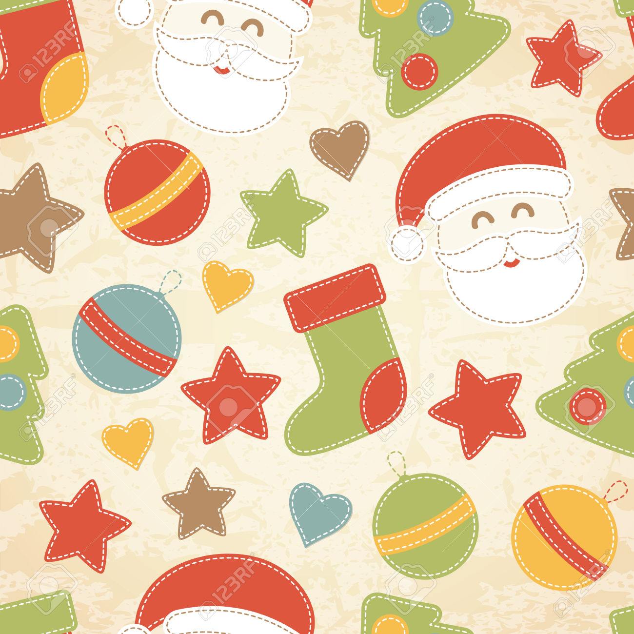 Childish Christmas Seamless Pattern With Santa Claus, Christmas.