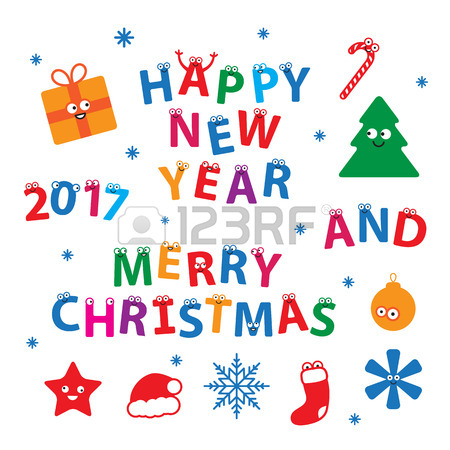 Merry Christmas And Happy New Year. Vector Set Of Creative.