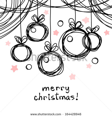 Vector christmas doodle background. Cute christmas balls in hand.