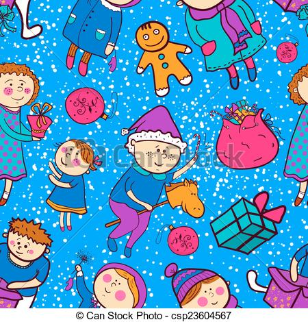 Clip Art Vector of Childish christmas vector seamless pattern in.