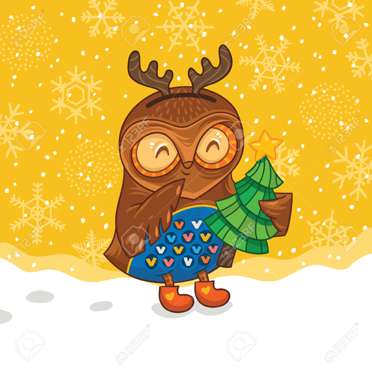 Childish Merry Christmas Card With Cartoon Owl In Vector Royalty.